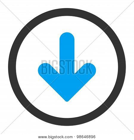 Arrow Down flat blue and gray colors rounded raster icon