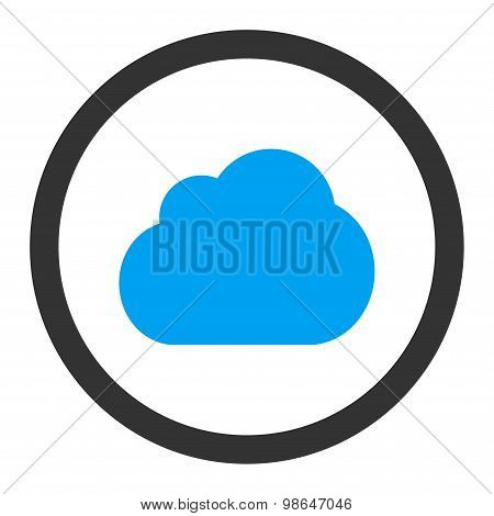 Cloud flat blue and gray colors rounded raster icon