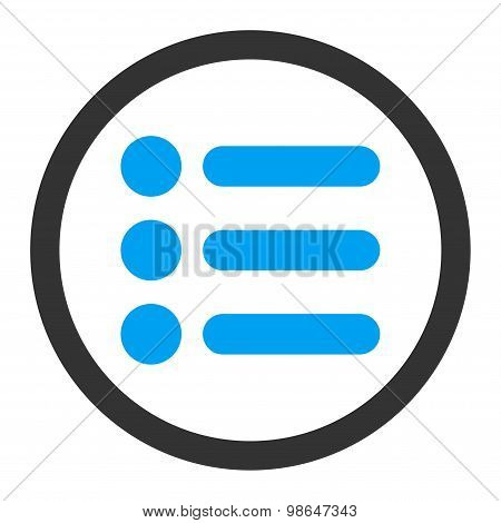 Items flat blue and gray colors rounded raster icon
