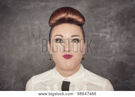 Woman With Crazy Grimace