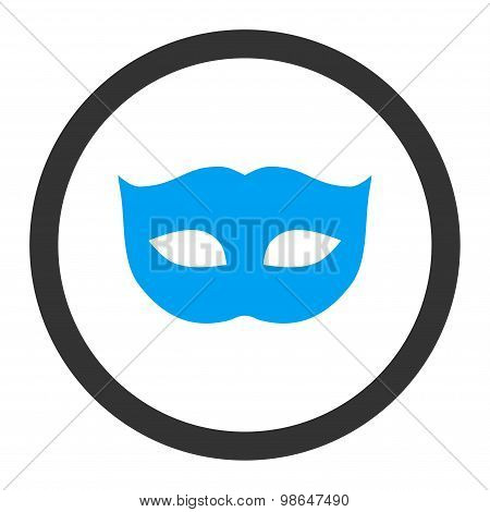 Privacy Mask flat blue and gray colors rounded raster icon