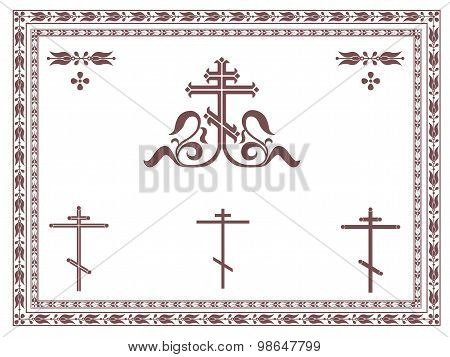 Ornamental orthodox cross, geometric orthodox crosses, frames and decorative elements, vignette, div