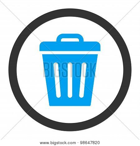 Trash Can flat blue and gray colors rounded raster icon