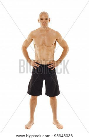 Kickboxer On White Background