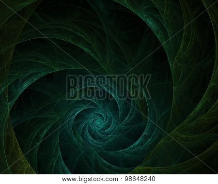 Abstract Green Whirled Fractal Over Black Background