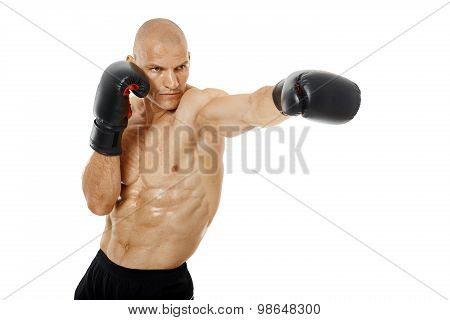 Very Fit Kickboxer Punching On White