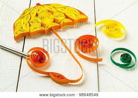 Details Of The Autumn Design Quilling Technique: Umbrella, Spiral