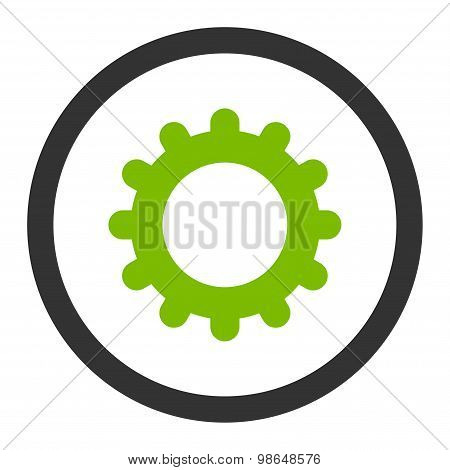 Gear flat eco green and gray colors rounded raster icon