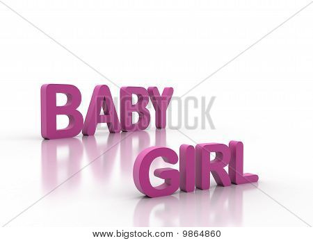 3D Letters Spelling Baby Girl In Pink