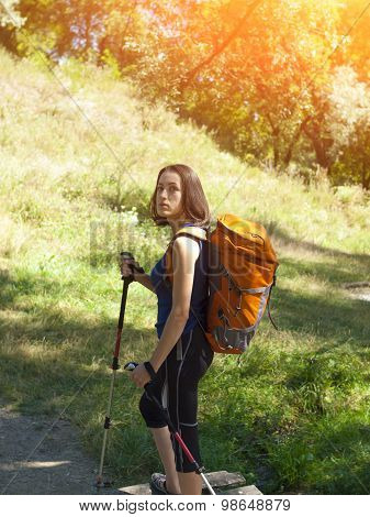 Girl With A Backpack Camping Trip.