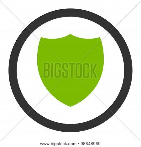 Shield flat eco green and gray colors rounded raster icon