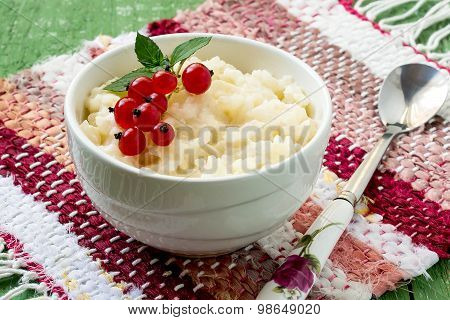 Rice Pudding With Red Currants On A Breakfast