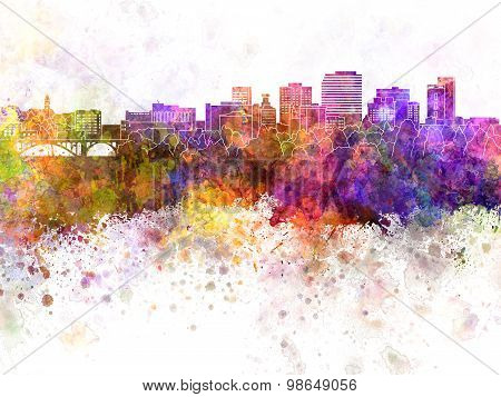Spokane Skyline In Watercolor Background