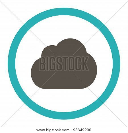 Cloud flat grey and cyan colors rounded raster icon