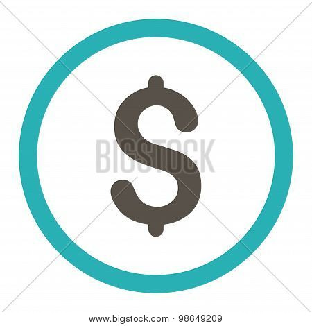 Dollar flat grey and cyan colors rounded raster icon