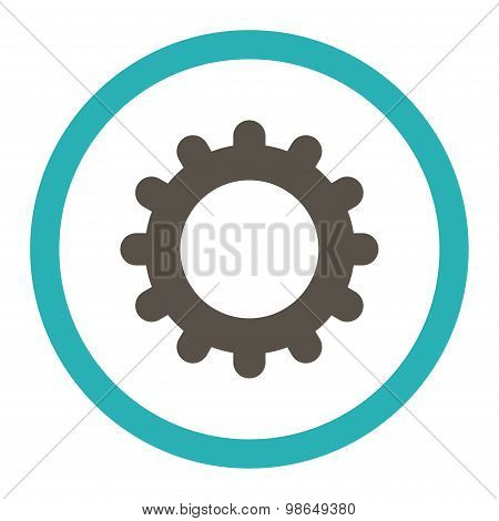 Gear flat grey and cyan colors rounded raster icon