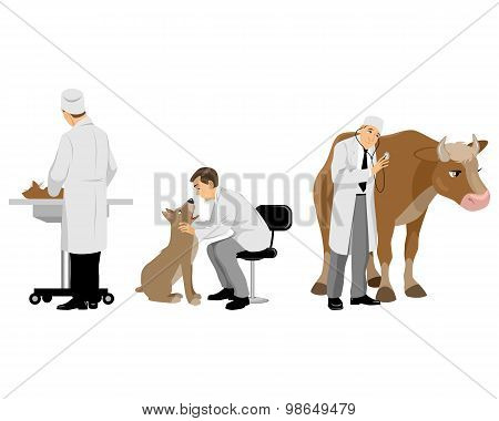 Veterinarians With Pets Set