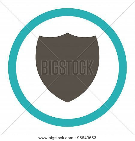Shield flat grey and cyan colors rounded raster icon