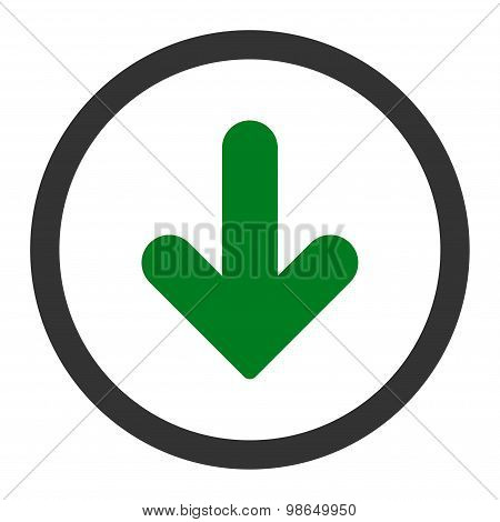 Arrow Down flat green and gray colors rounded raster icon