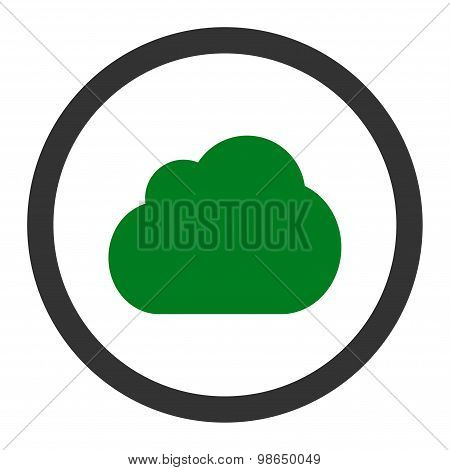 Cloud flat green and gray colors rounded raster icon