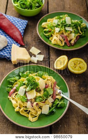 Tagliatelle With Bacon, Garlic And Salad