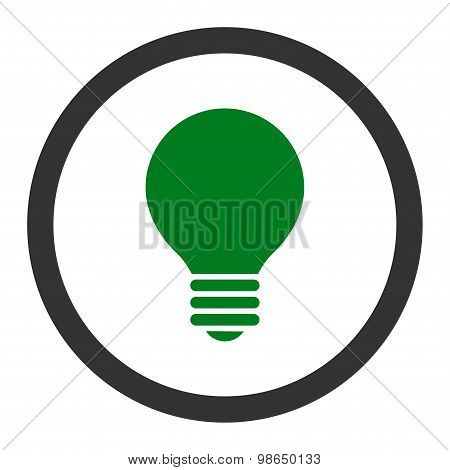 Electric Bulb flat green and gray colors rounded raster icon