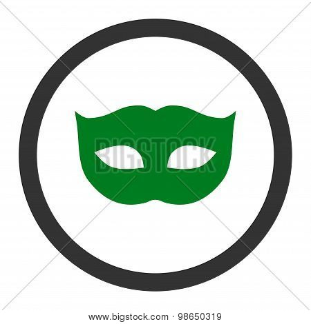 Privacy Mask flat green and gray colors rounded raster icon