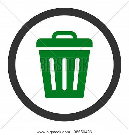 Trash Can flat green and gray colors rounded raster icon