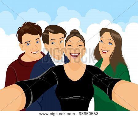 Teenagers Doing Selfe