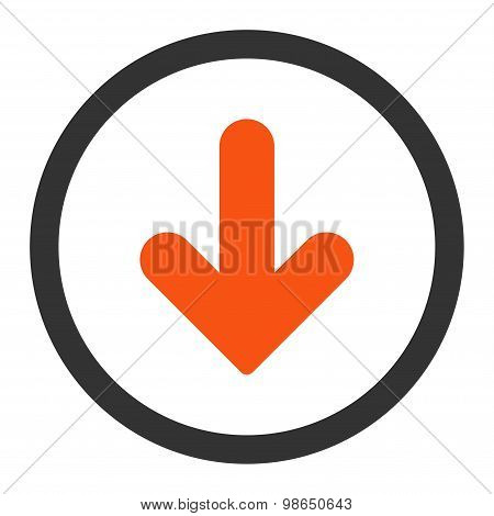 Arrow Down flat orange and gray colors rounded raster icon