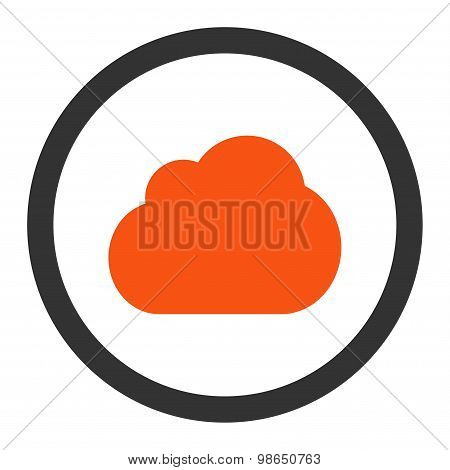 Cloud flat orange and gray colors rounded raster icon