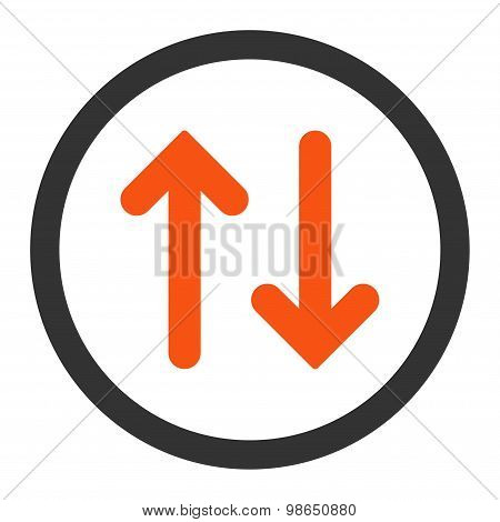 Flip flat orange and gray colors rounded raster icon