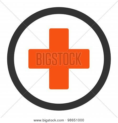 Plus flat orange and gray colors rounded raster icon