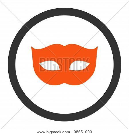Privacy Mask flat orange and gray colors rounded raster icon