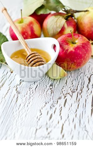 Fresh Red Apples With Honey