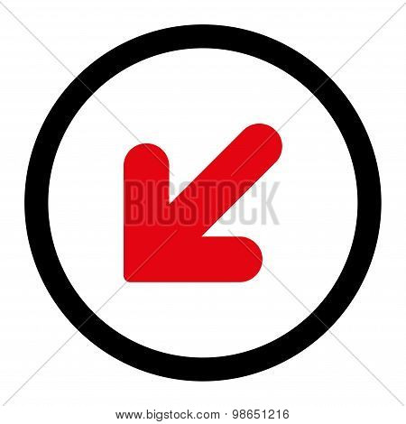 Arrow Down Left flat intensive red and black colors rounded raster icon