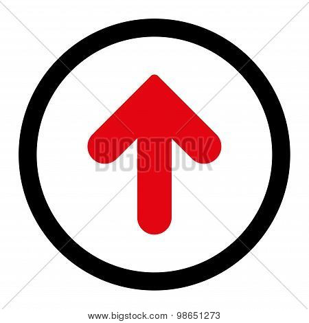 Arrow Up flat intensive red and black colors rounded raster icon