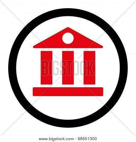 Bank flat intensive red and black colors rounded raster icon