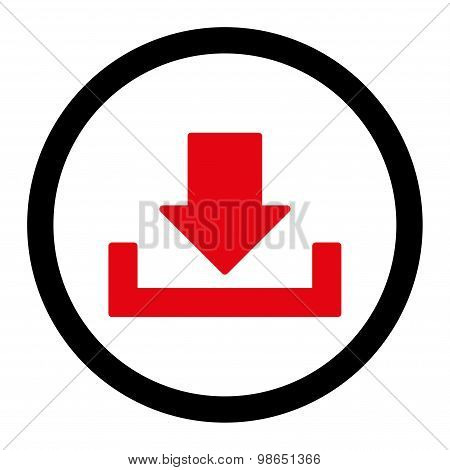 Download flat intensive red and black colors rounded raster icon