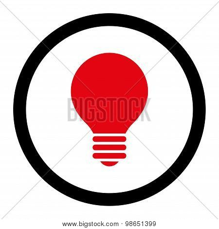 Electric Bulb flat intensive red and black colors rounded raster icon