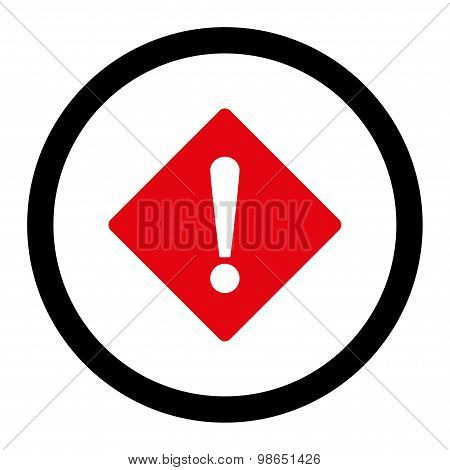 Error flat intensive red and black colors rounded raster icon