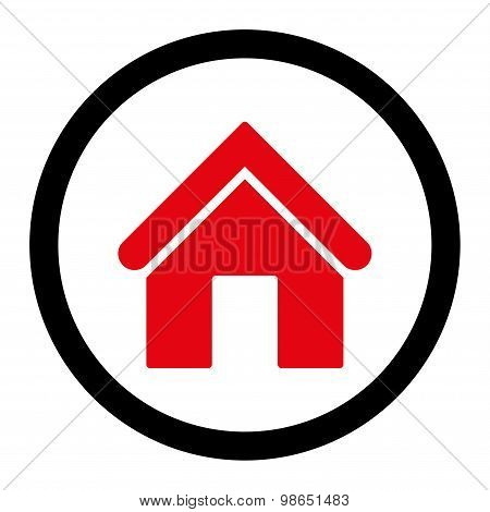 Home flat intensive red and black colors rounded raster icon