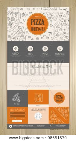 Sketch Pizza Concept Web Site Design. Corporate Identity