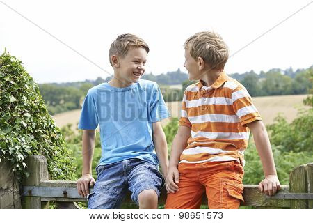 Two Boys Sitting On Gate Chatting Together