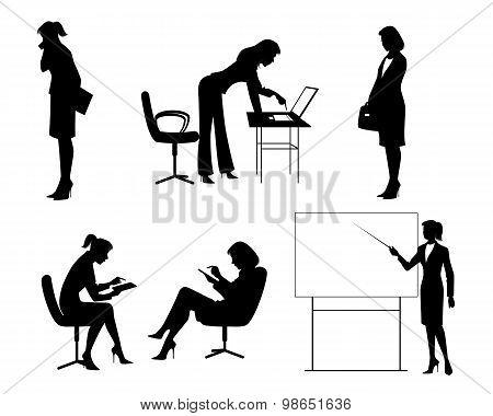 Six Businesswomen Silhouettes