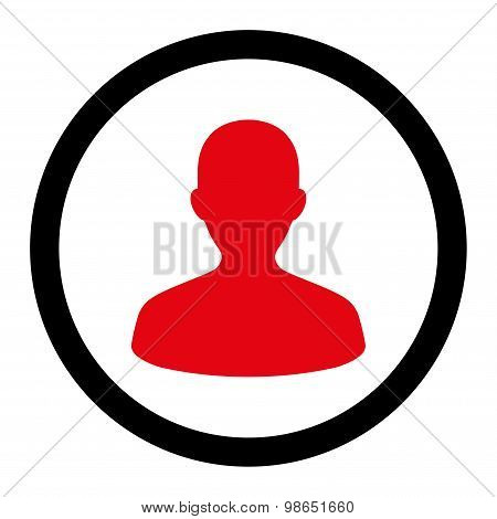 User flat intensive red and black colors rounded raster icon