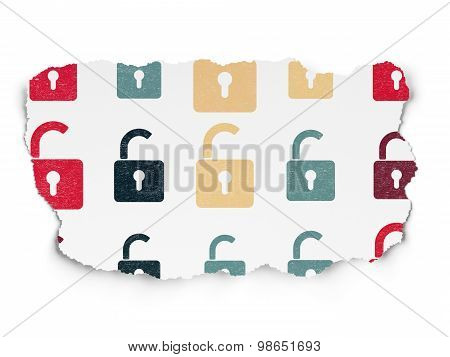 Data concept: Opened Padlock icons on Torn Paper background