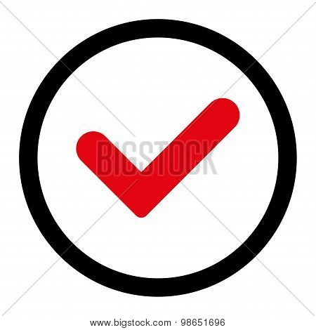Yes flat intensive red and black colors rounded raster icon