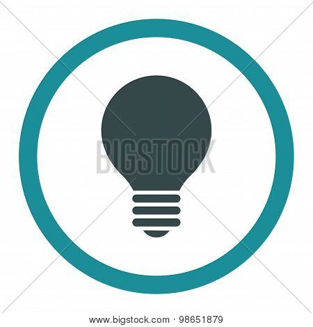 Electric Bulb flat soft blue colors rounded raster icon
