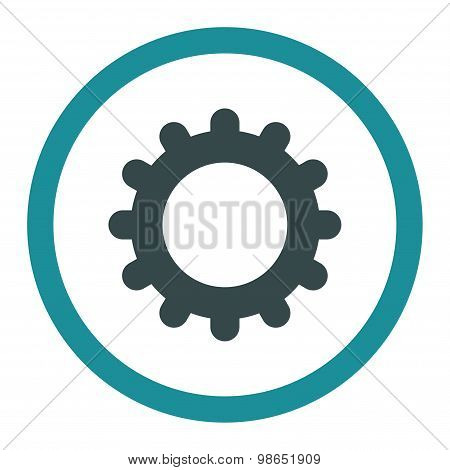 Gear flat soft blue colors rounded raster icon